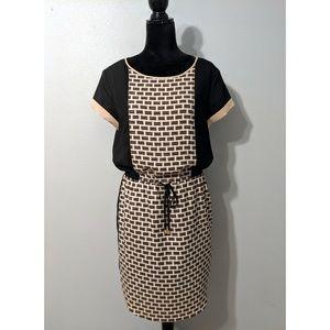 Vince Camuto Basket Weave Tie-Waist Dress